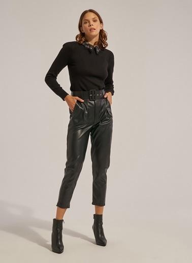 Monamoda Yüksel Bel Vegan Deri Pantolon Siyah